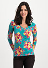 savoir vivre longsie, super retro bouquet, Shirts, Turquoise