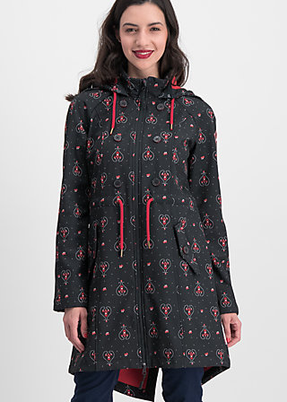 swallowtail promenade coat, red hood, Jackets & Coats, Black