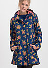 Soft Shell Parka wild weather long anorak, floral stellar, Jackets & Coats, Blue