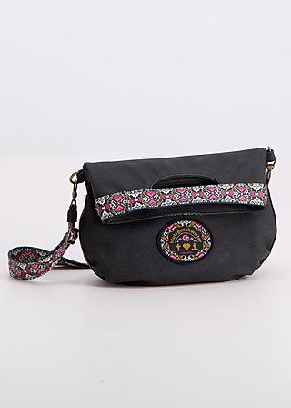 klapp sandwich bag, black leather, Handtaschen, Schwarz