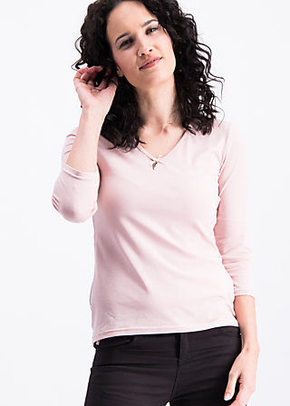 logo 3/4 sleeve v-shirt , scent of lady, Shirts, Pink
