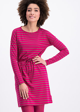 logo stripes longsleeve dress, rough line, Kleider, Rot