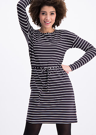logo stripes longsleeve dress, walk line , Dresses, Black
