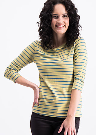 logo stripes sailorette 3/4 shirt, corn line, Shirts, Yellow
