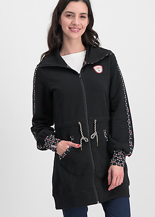 sister next door longjacket, retro black , Pullover & leichte Jacken, Schwarz