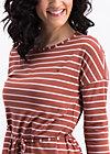 logo stripes longsleeve dress, earth line, Dresses, Brown