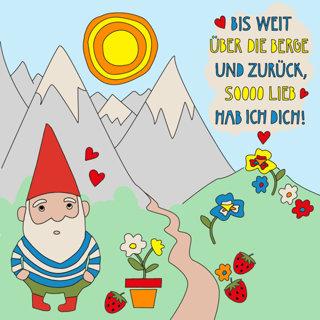 Gartenzwerg Postkarte zum Ausmalen!